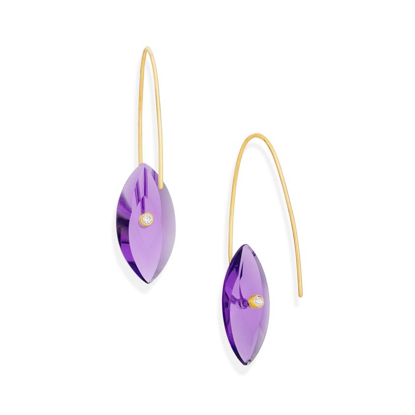 Gold, 0.06 carat Diamond & Amethyst Earrings – Reverse Fit Navette Earrings | Yael Sonia