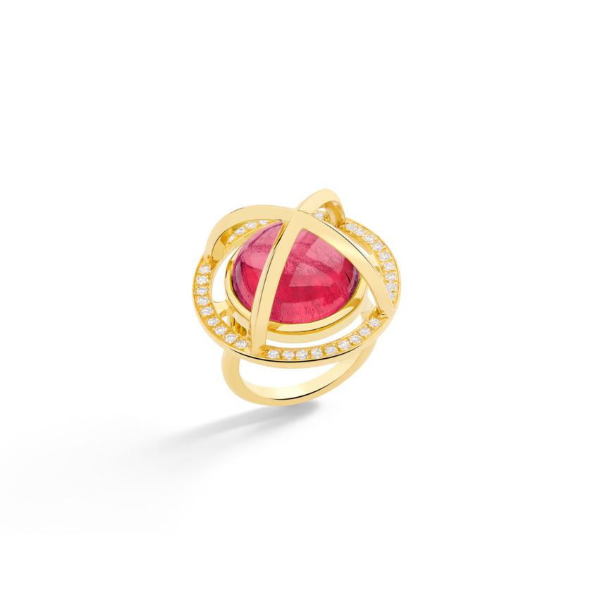 Diamond & Round Pink Tourmaline Cabochon Ring Gold – Meteor Brilliant Large Ring 15mm | Yael Sonia