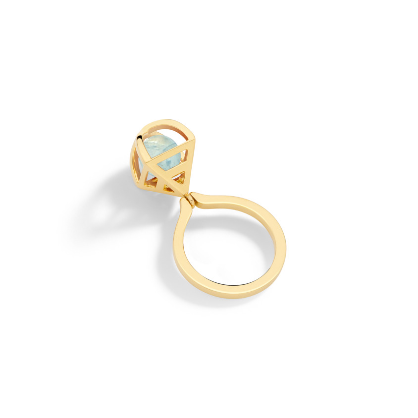 Geometric 18k Gold Spherical Aquamarine Ring Kinetic – Solar Small Charm Ring | Yael Sonia