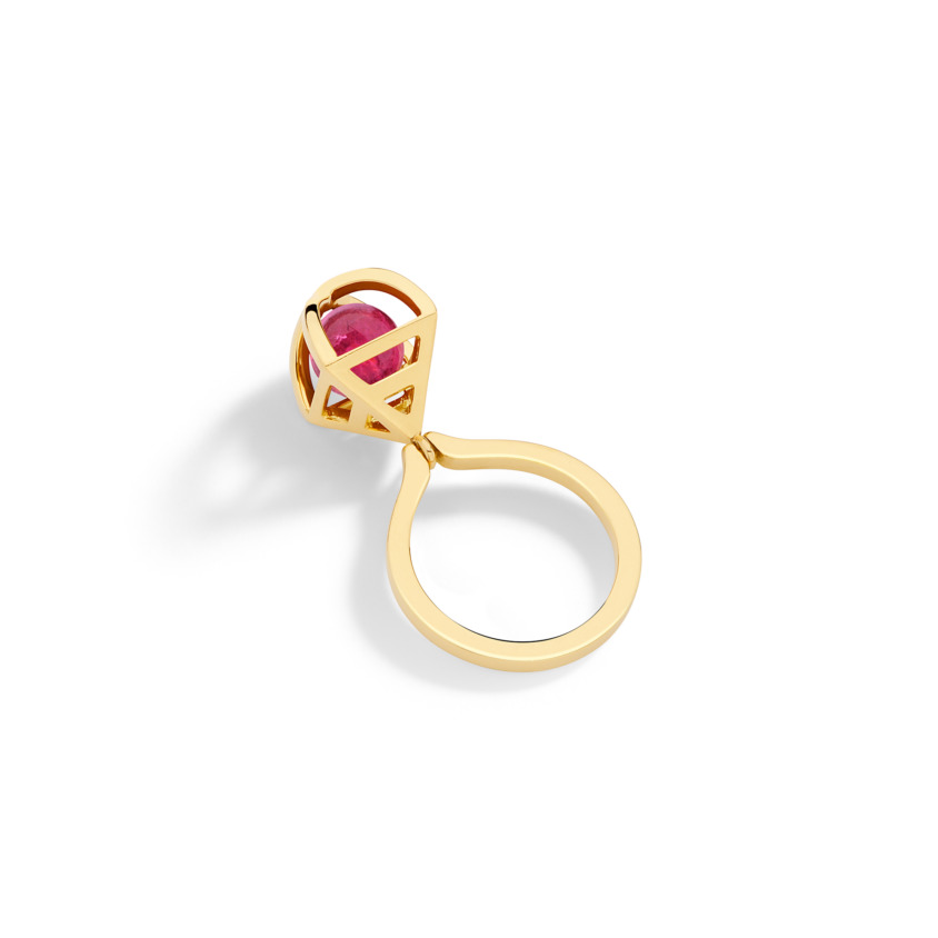 Geometric 18k Gold Spherical Pink Tourmaline Ring Kinetic – Solar Small Charm Ring | Yael Sonia