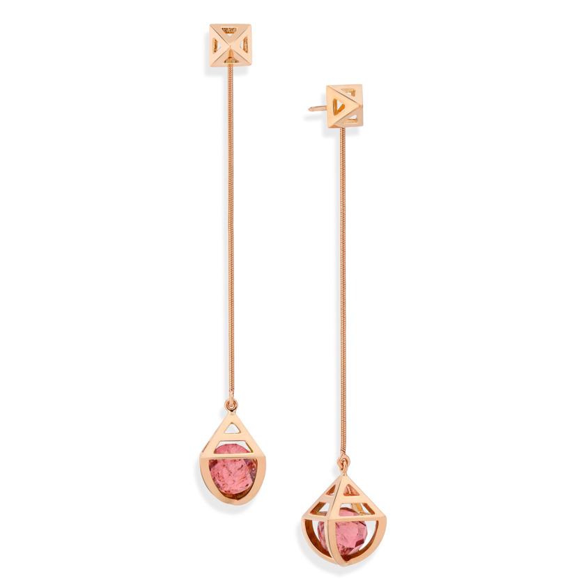 Geometric 18k Rose Gold Celestial Pink Tourmaline Earrings – Solar Long Earrings | Yael Sonia