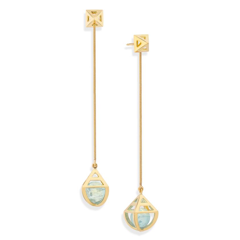 Geometric 18k Gold Celestial Aquamarine Earrings – Solar Long Earrings | Yael Sonia