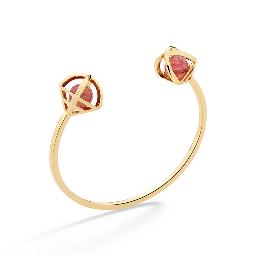18k Gold Celestial Pink Tourmaline Bracelet Cuff – Solar Duo Small Cuff | Yael Sonia