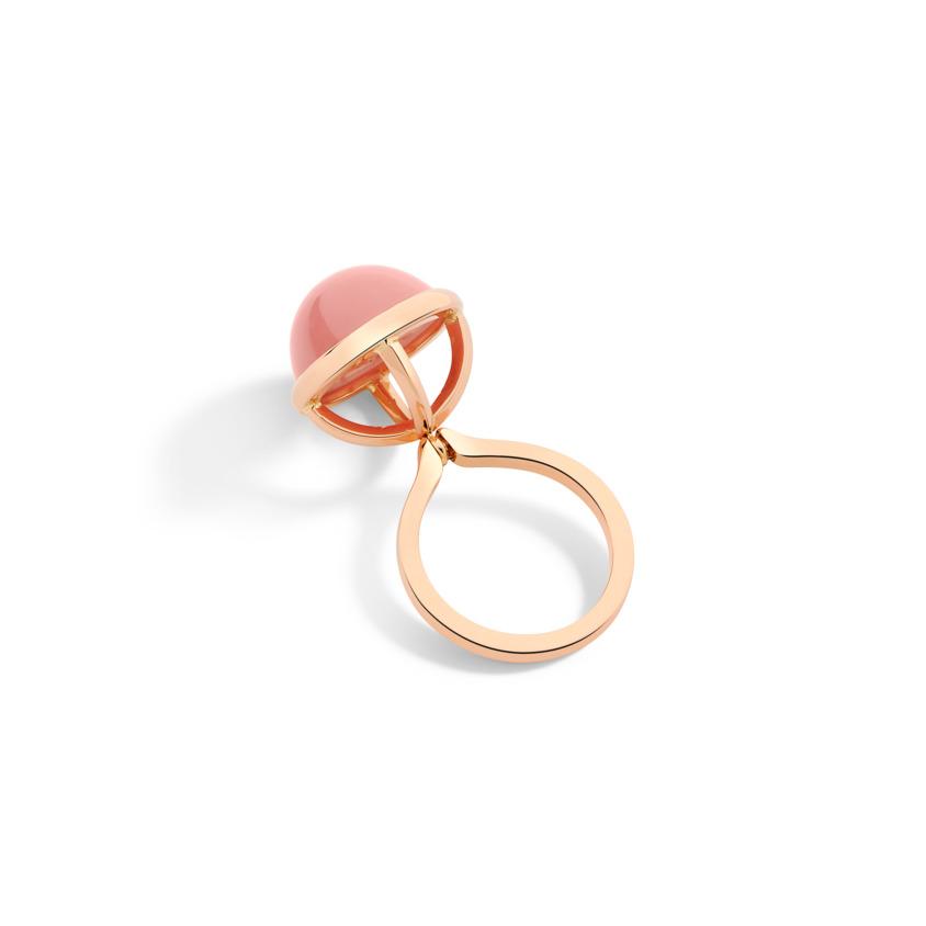 Rose Gold Guava Quartz Cabochon Ring – Lunar Charm Ring | Yael Sonia