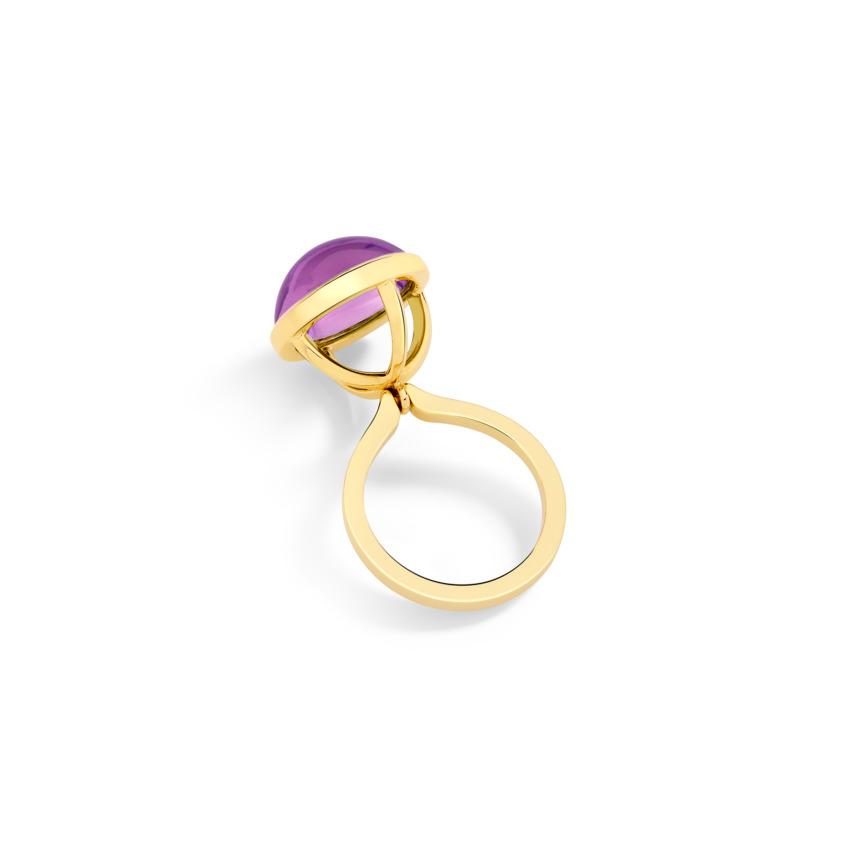 Gold Dark Amethyst Cabochon Ring – Lunar Charm Ring | Yael Sonia