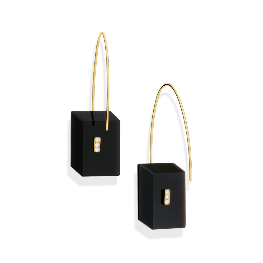 0.09 carat Diamond & Gold Onyx Drop Earrings Rectangular – Reverse Fit Rectangle Earrings | Yael Sonia