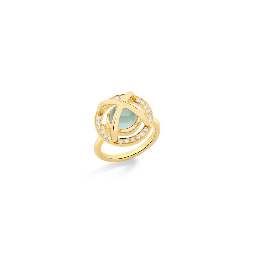 Diamond & Round Aquamarine Cabochon Ring Gold – Meteor Brilliant Small Ring | Yael Sonia