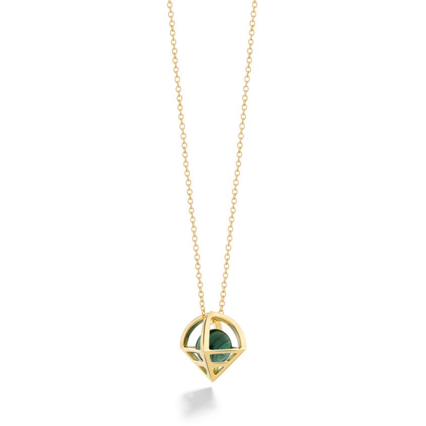 18k Gold Geometric Malachite Necklace – Solar Small Pendant | Yael Sonia