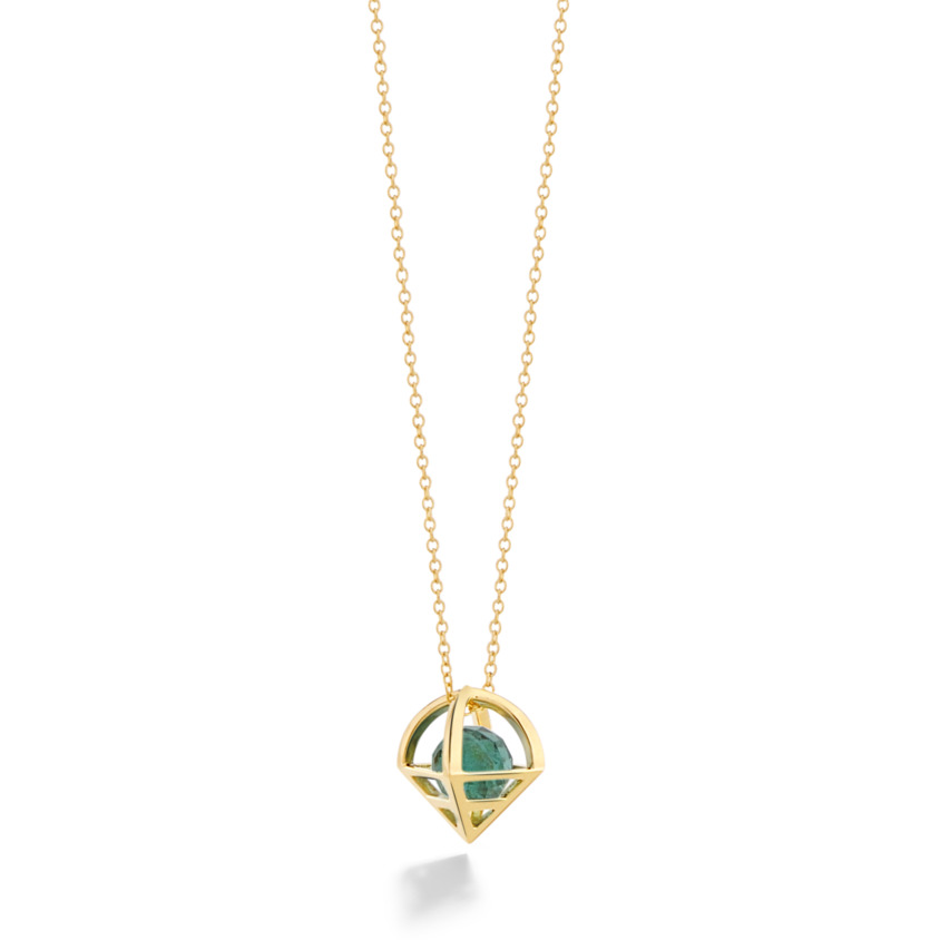 18k Gold Geometric Faceted Green Tourmaline Necklace – Solar Small Pendant | Yael Sonia