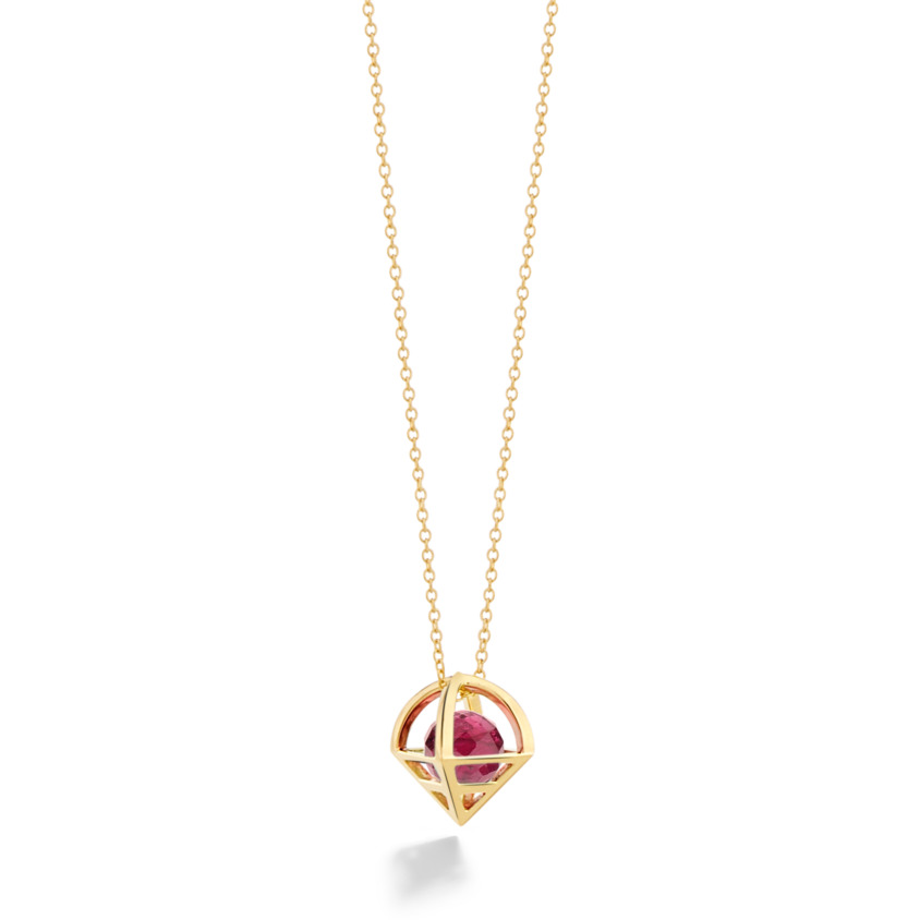18k Gold Geometric Faceted Pink Tourmaline Necklace – Solar Small Pendant | Yael Sonia