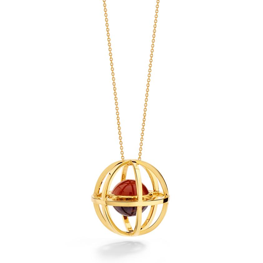 Yellow Gold Amethyst & Carnelian Pendant Necklace – Cosmic Small Pendant | Yael Sonia