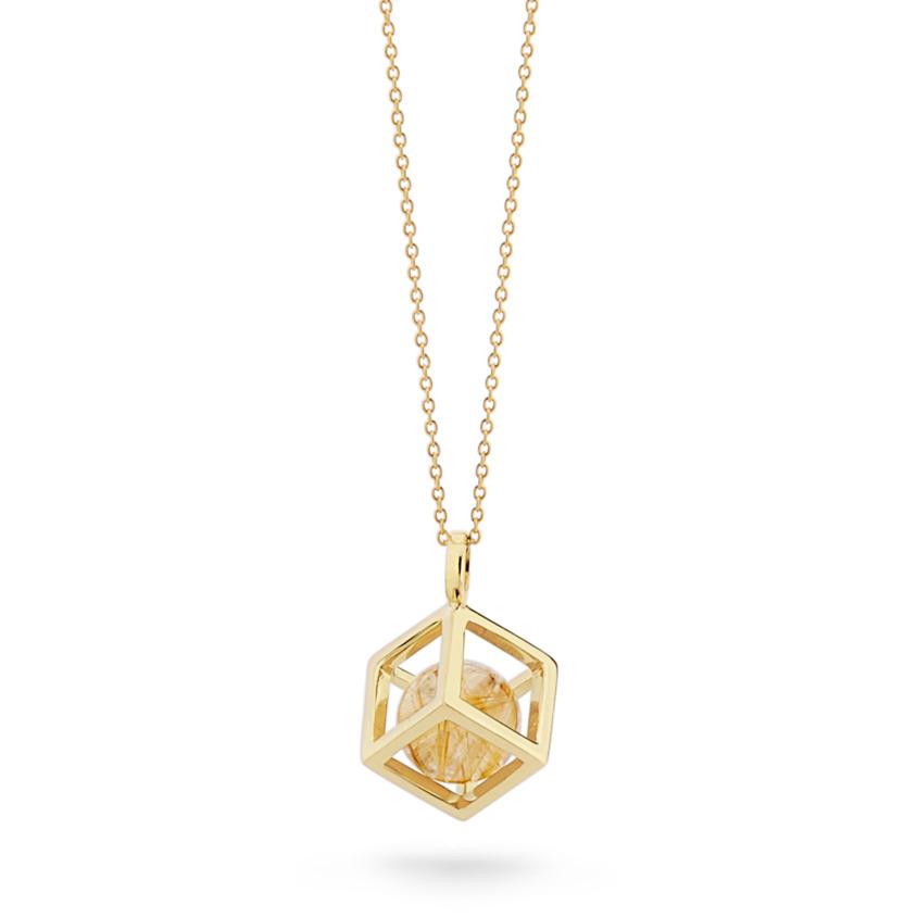 18k Gold Round Gold Rutilated Quartz Perpetual Motion Necklace – Solo Pendant 15mm | Yael Sonia