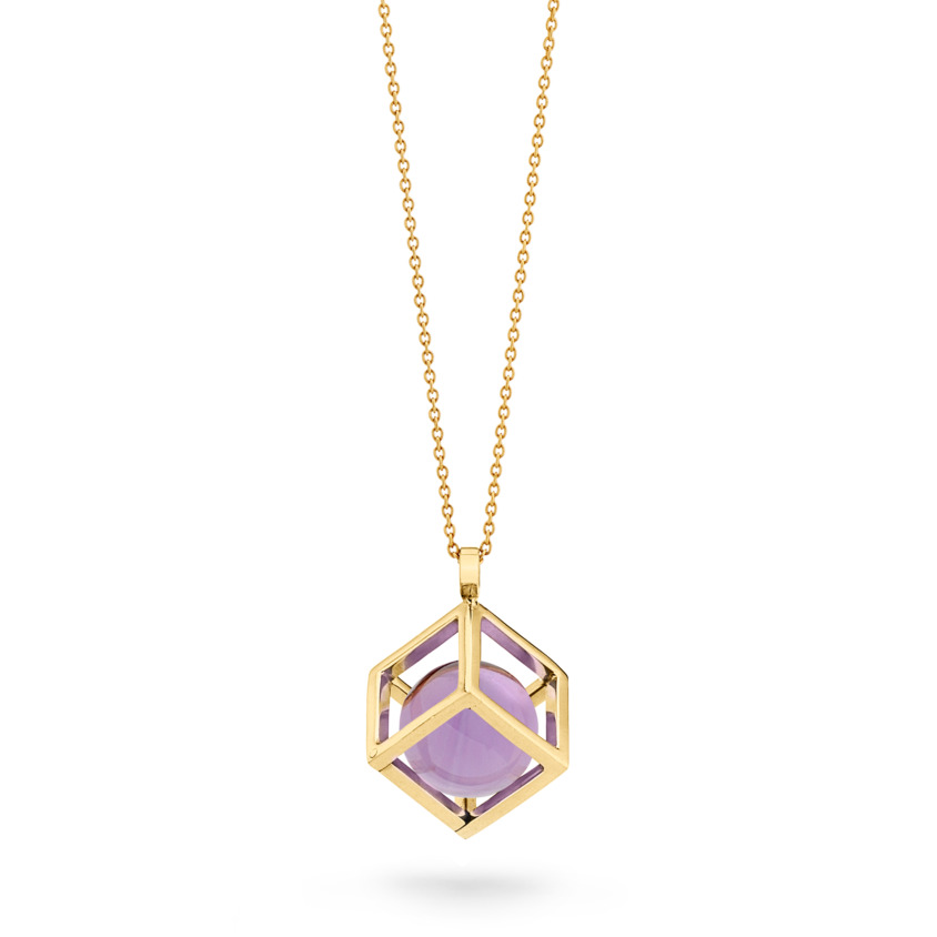 18k Gold Round Dark Amethyst Perpetual Motion Necklace – Solo Pendant 15mm | Yael Sonia