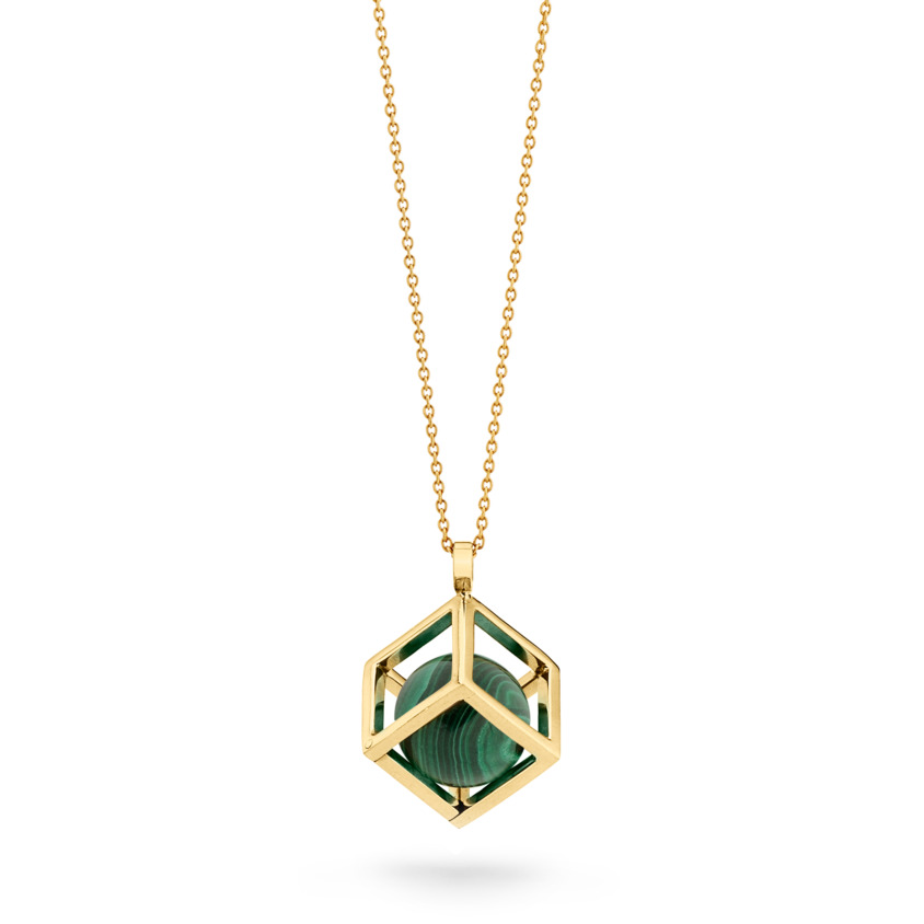 18k Gold Round Malachite Perpetual Motion Necklace – Solo Pendant 15mm | Yael Sonia
