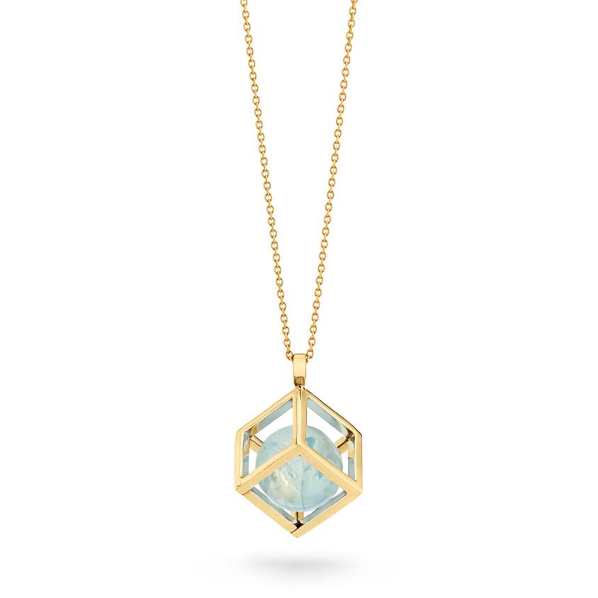 18k Gold Round Aquamarine Perpetual Motion Necklace – Solo Pendant 15mm | Yael Sonia