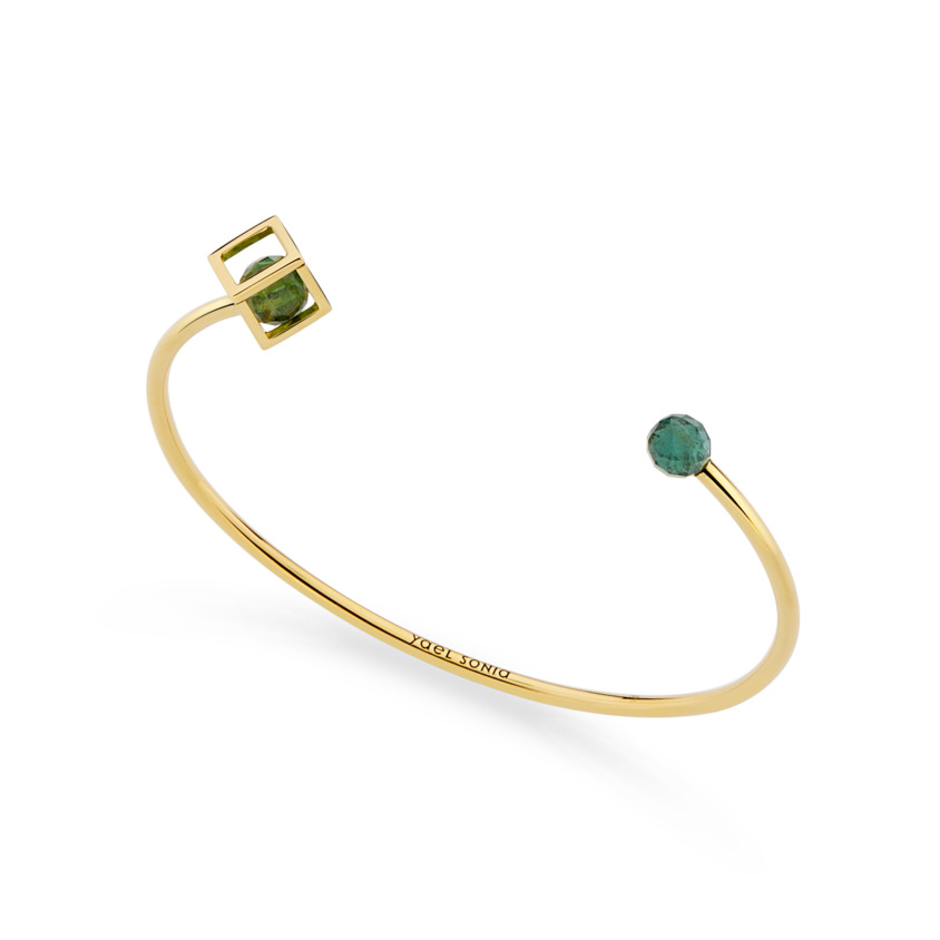 18k Gold Green Tourmaline Bracelet Cuff – Sphere Duo Solo 6mm Stacking Cuff | Yael Sonia