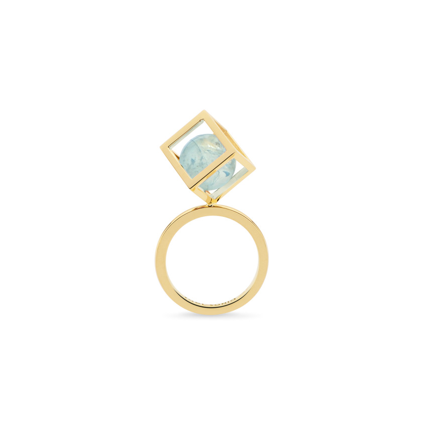 18k Gold Perpetual Movement Aquamarine Ring – Solo Rotated 10mm Stacking Ring | Yael Sonia