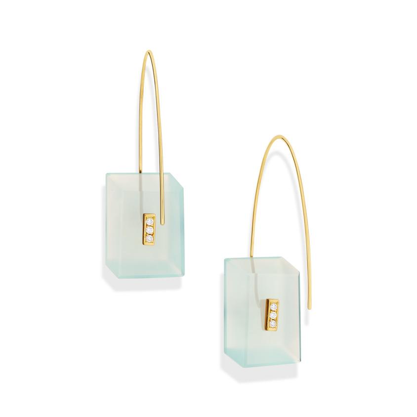 0.09 carat Diamond & Gold Aqua Chalcedony Drop Earrings Rectangular – Reverse Fit Rectangle Earrings | Yael Sonia