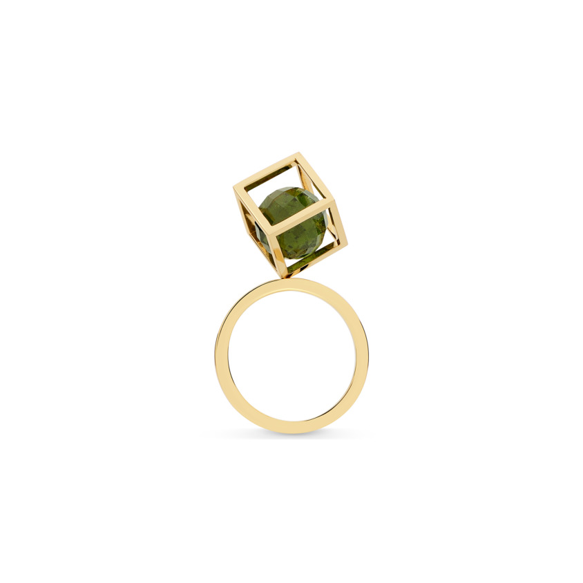 18k Gold Perpetual Movement Green Tourmaline Ring – Solo Rotated 10mm Stacking Ring | Yael Sonia