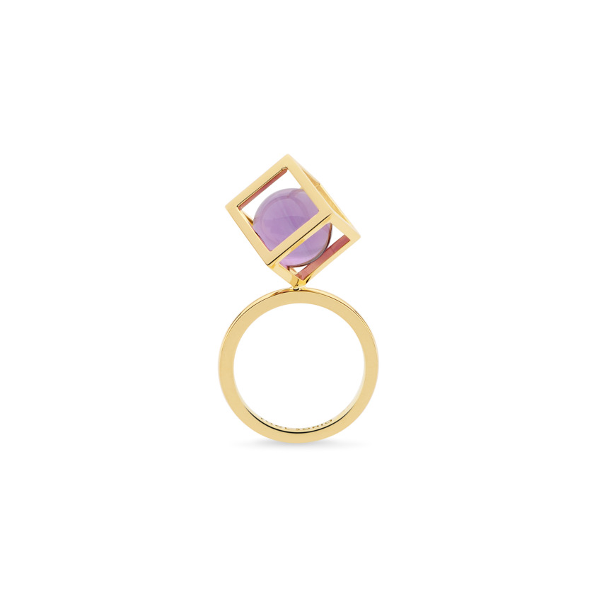 18k Gold Perpetual Movement Dark Amethyst Ring – Solo Rotated 10mm Stacking Ring | Yael Sonia