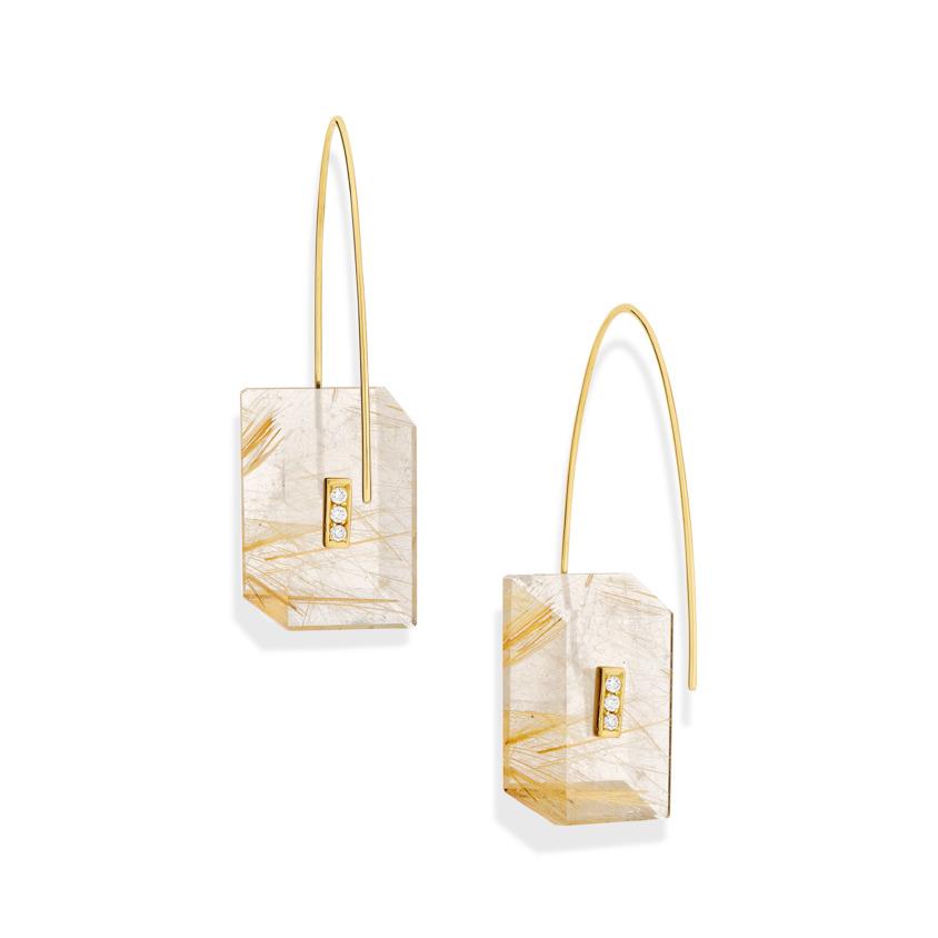 0.09 carat Diamond & Gold Rutilated Quartz Drop Earrings Rectangular – Reverse Fit Rectangle Earrings   Yael Sonia