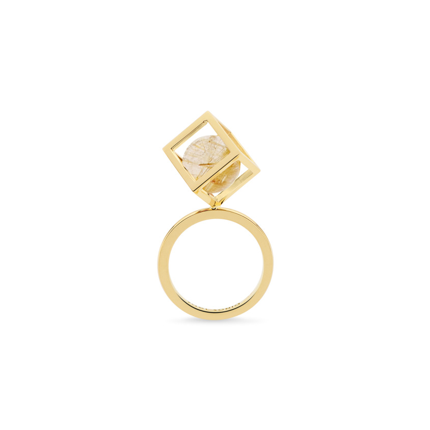 18k Gold Perpetual Movement Gold Rutilated Quartz Ring – Solo Rotated 10mm Stacking Ring | Yael Sonia