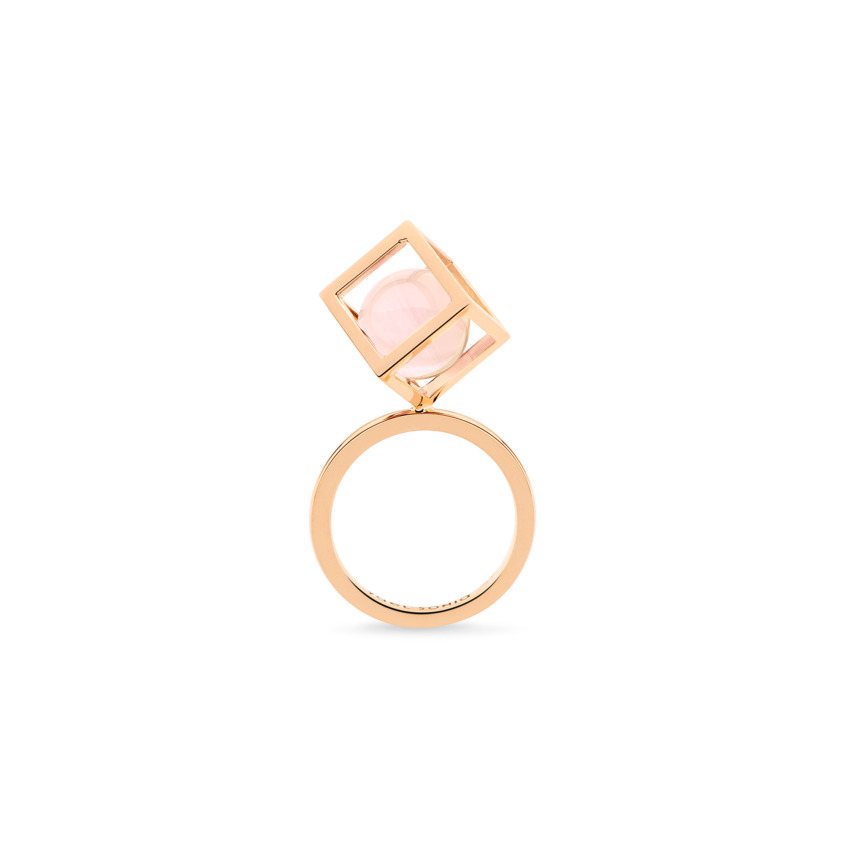 18k Rose Gold Perpetual Movement Rose Quartz Ring – Solo Rotated 10mm Stacking Ring   Yael Sonia