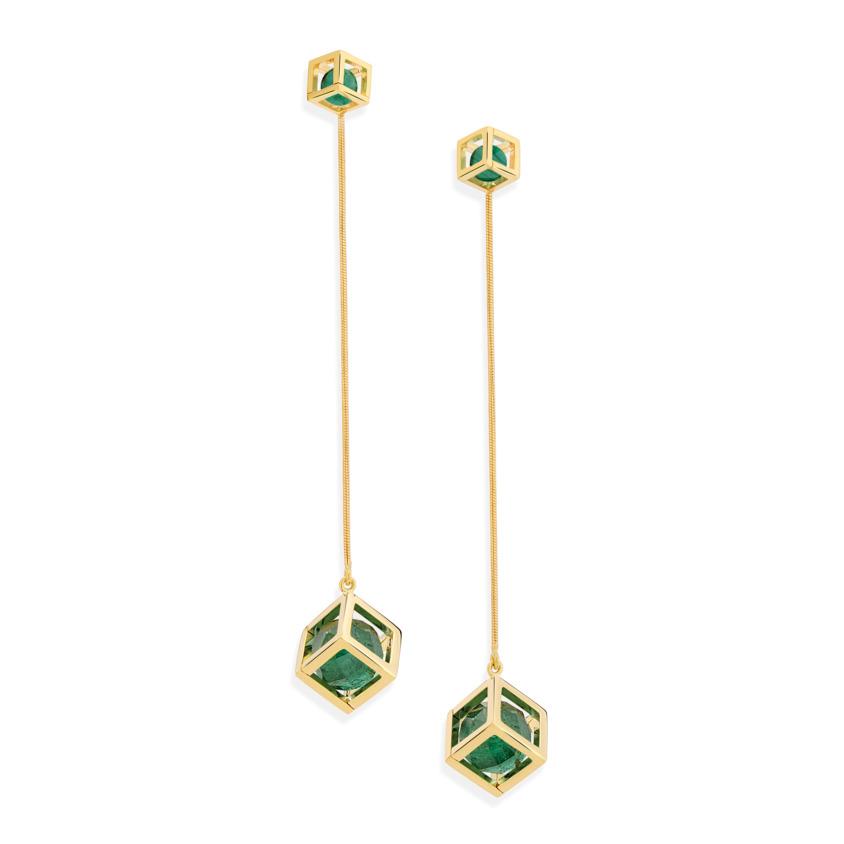 18k Gold Faceted Green Tourmaline & Malachite Long Earrings – Solo Flexible Long Earrings | Yael Sonia