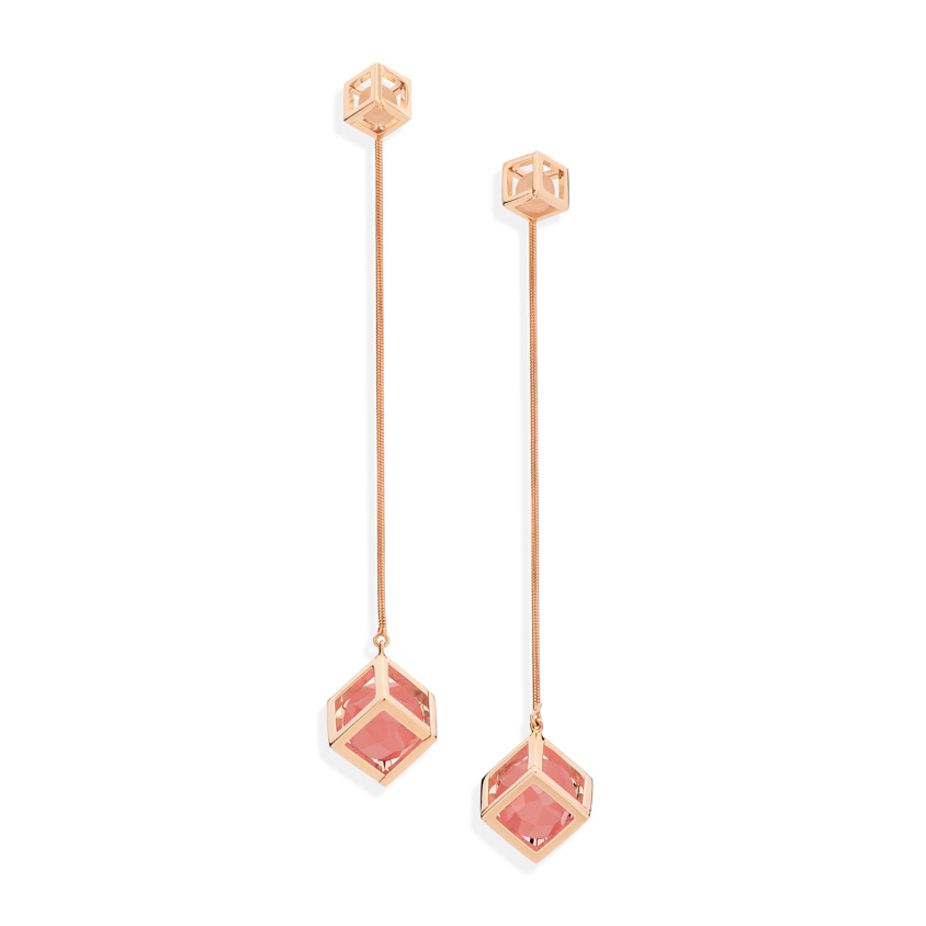 18k Rose Gold Faceted Guava Quartz & Rose Quartz Long Earrings – Solo Flexible Long Earrings   Yael Sonia