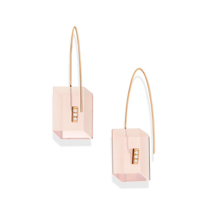 0.09 carat Diamond & Gold Rose Quartz Drop Earrings Rectangular – Reverse Fit Rectangle Earrings   Yael Sonia