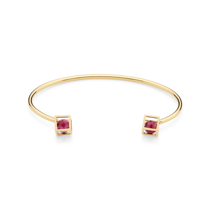 18k Yellow Gold Pink Tourmaline Cuff Bracelet – Duo Solo 6mm Stacking Cuff | Yael Sonia