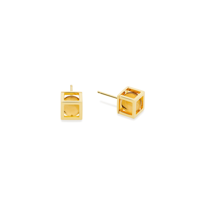 18k Gold Square, Cube, Spherical Citrine Stud Earrings – Solo 8mm Stud Earrings | Yael Sonia