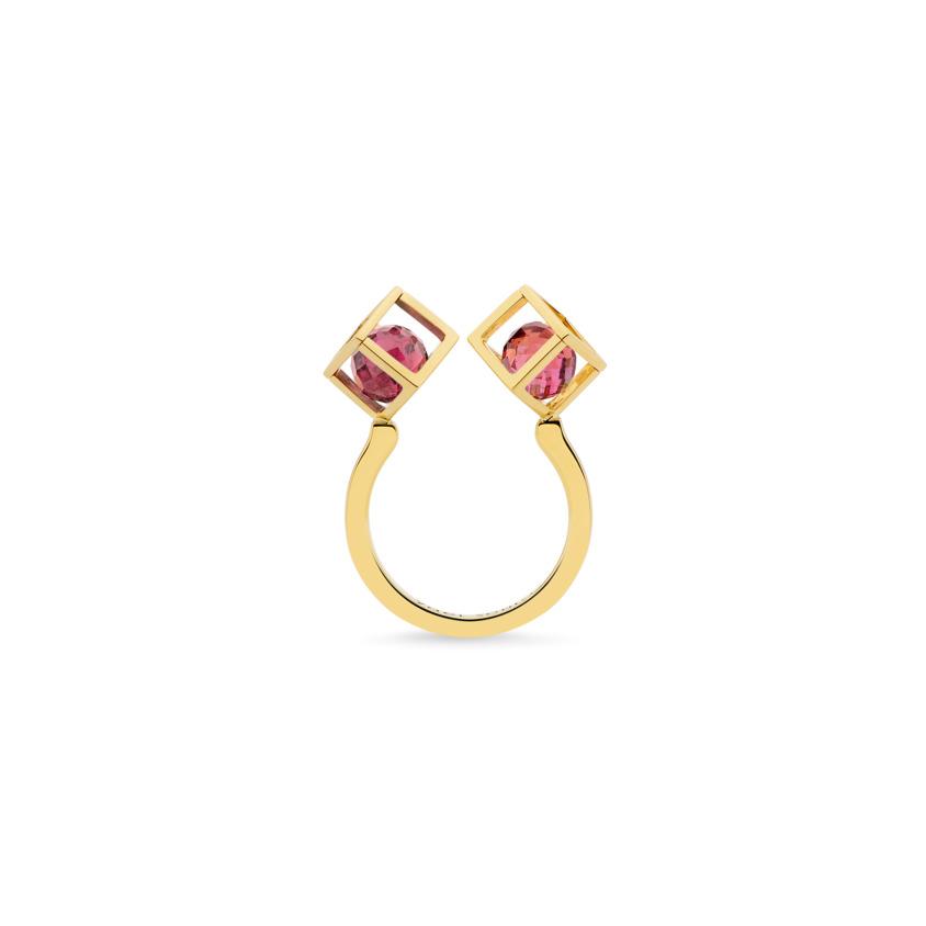 18k Yellow Gold Pink Tourmaline Stacking Ring – Duo Solo 6mm Stacking Ring | Yael Sonia