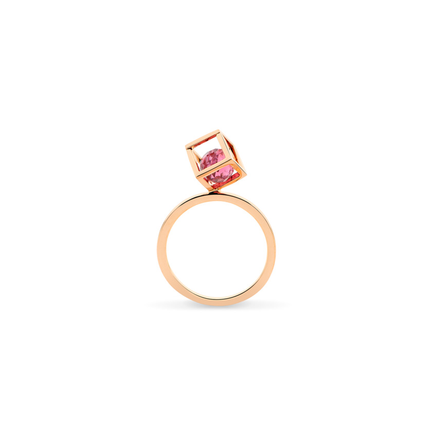 Gold Pink Tourmaline Stacking Ring – Solo Rotated 6mm Stacking Ring | Yael Sonia
