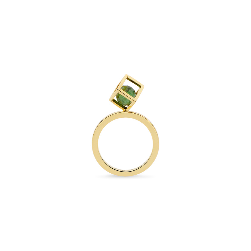 Gold Green Tourmaline Stacking Ring – Solo Rotated 6mm Stacking Ring | Yael Sonia