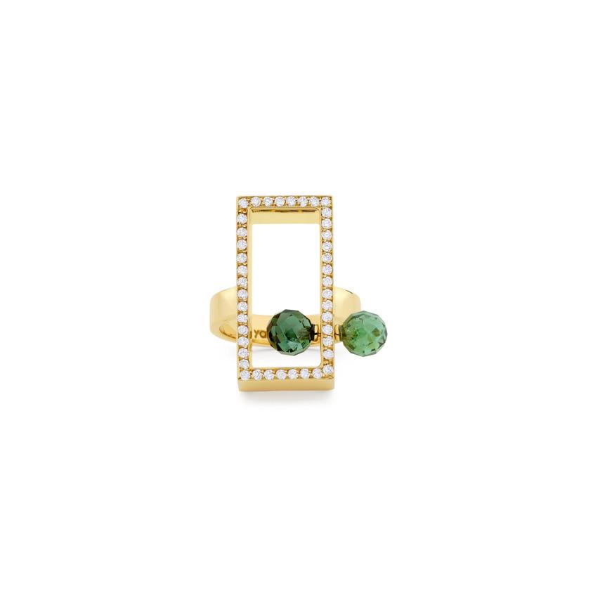 Diamond & Faceted Green Tourmaline, Perpetual Motion Ring – Open Plane Ring | Yael Sonia