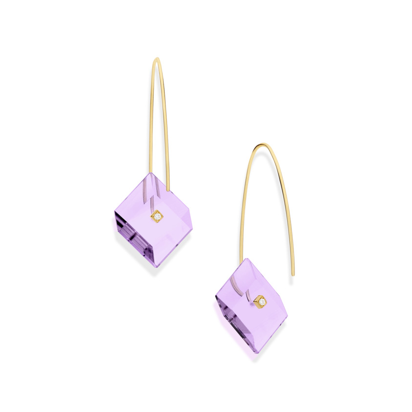 Gold, 0.03 carat Diamond & Square Amethyst Earrings – Reverse Fit Small Square Earrings | Yael Sonia