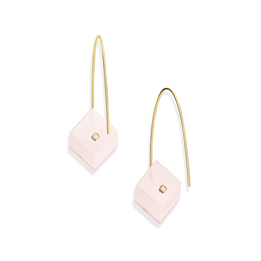 Gold, 0.03 carat Diamond & Square Rose Quartz Earrings – Reverse Fit Small Square Earrings | Yael Sonia