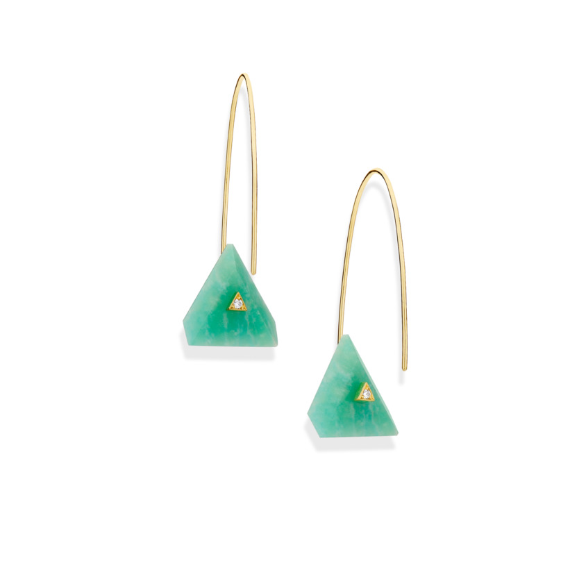 18k Yellow Gold, Triangle Amazonite Earrings – Reverse Fit Triangle Earrings | Yael Sonia