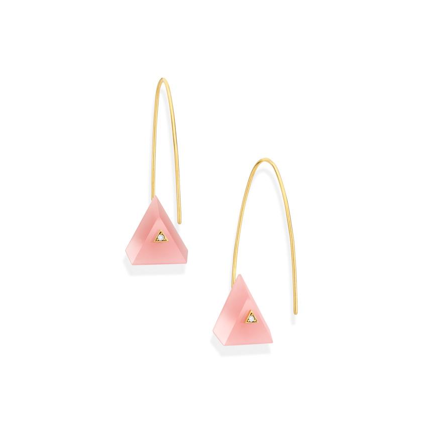 18k Yellow Gold, Triangle Guava Quartz Earrings – Reverse Fit Triangle Earrings   Yael Sonia
