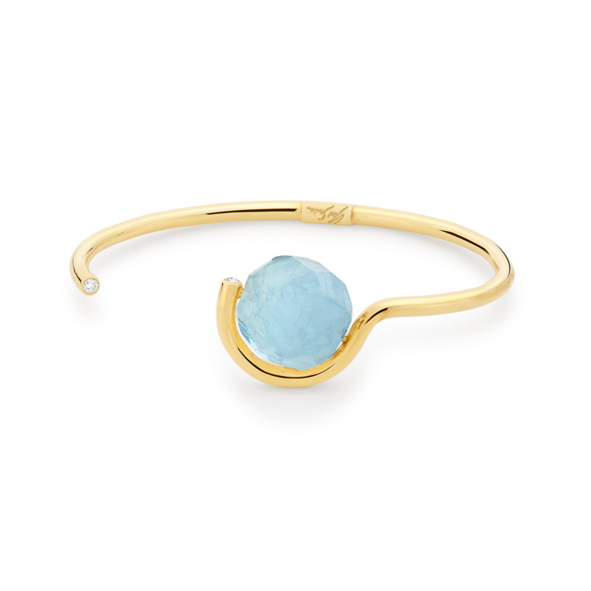0.12 Carat Diamond & Faceted Aquamarine Cuff Bracelet Gold – Faceted Brilliant Fancy Cuff | Yael Sonia