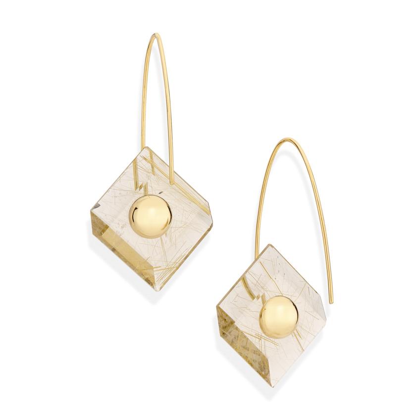 18k Yellow Gold, Square Gold Rutilated Quartz Earrings – Reverse Fit Square Earrings | Yael Sonia