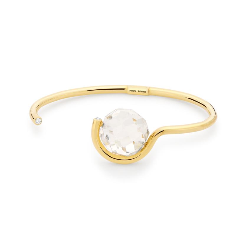 0.12 Carat Diamond & Faceted Quartz Cuff Bracelet Gold – Faceted Brilliant Fancy Cuff   Yael Sonia