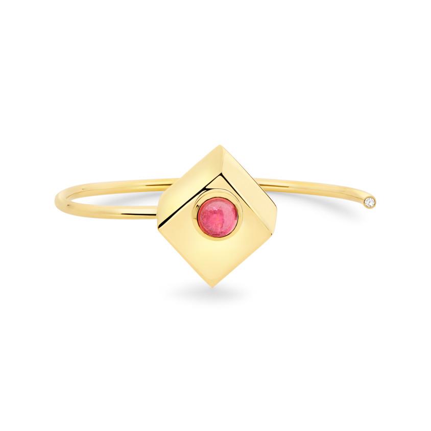 18k Yellow Gold Pink Tourmaline Cuff – Deco Square Cuff – White Diamond | Yael Sonia