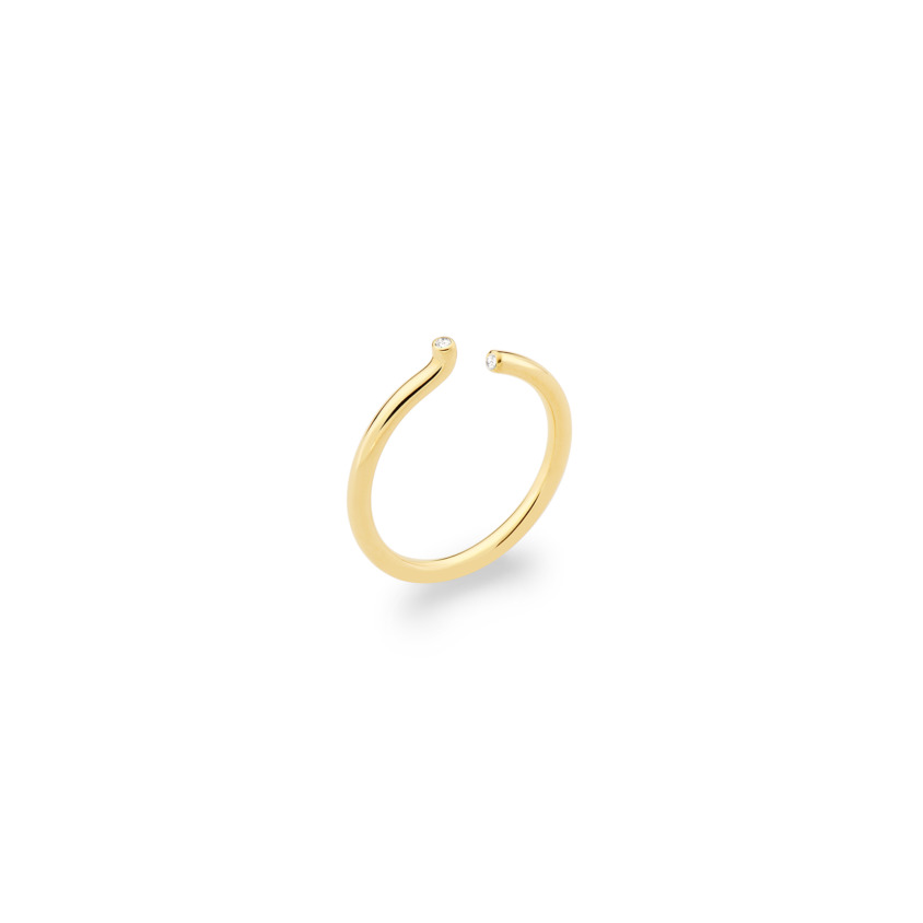 18k Yellow Gold 0.02 Carat Diamond Ring – Asymmetric Band Ring | Yael Sonia