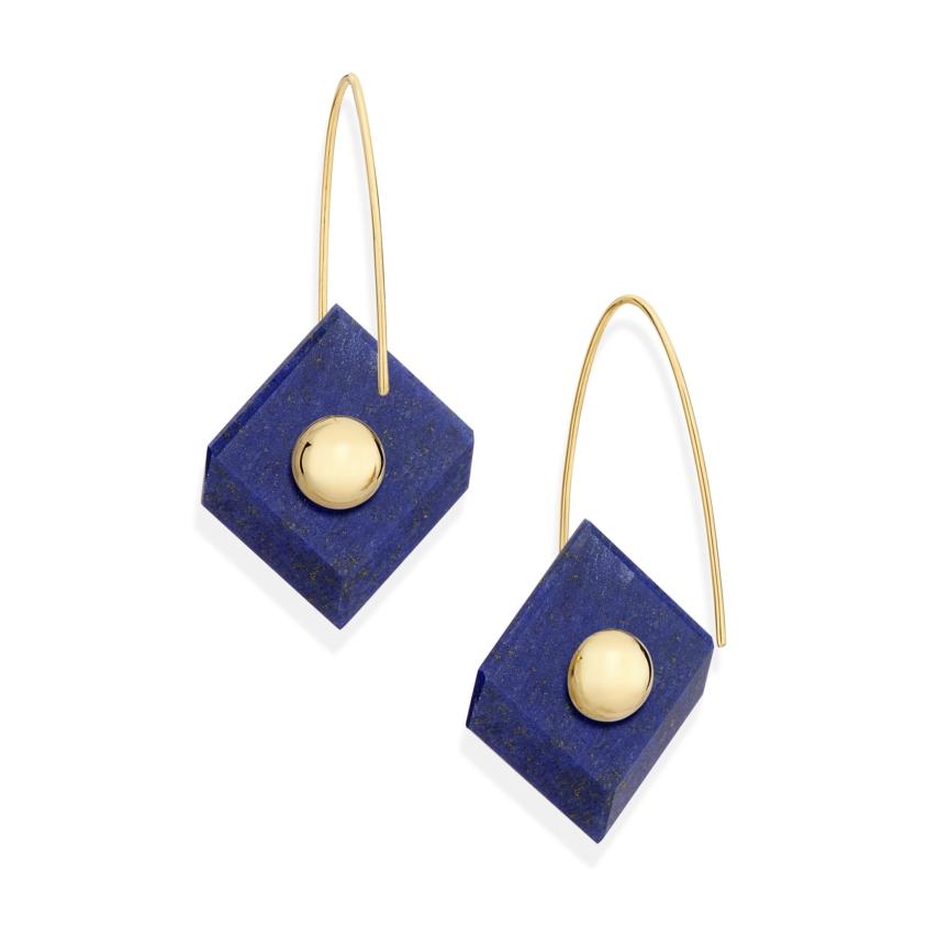18k Yellow Gold, Square Lapis Lazuli Earrings – Reverse Fit Square Earrings | Yael Sonia