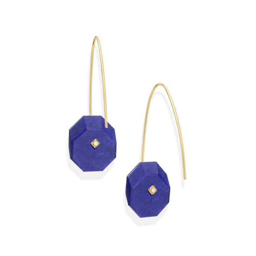 Gold, 0.03 carat Diamond & Small Lapis Lazuli Earrings – Reverse Fit Small Octagon Earrings | Yael Sonia