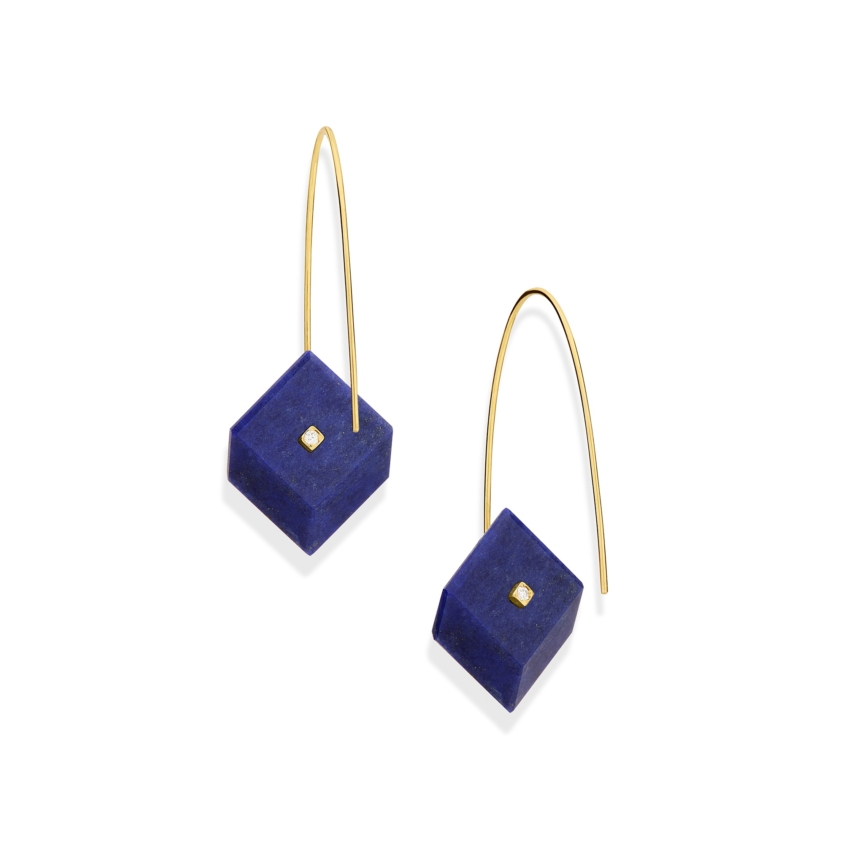 Gold, 0.03 carat Diamond & Square Lapis Lazuli Earrings – Reverse Fit Small Square Earrings | Yael Sonia
