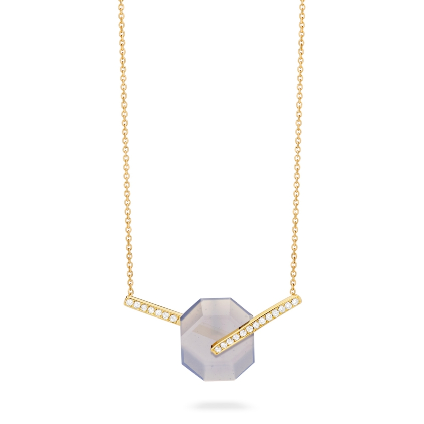 Small Diamond & Chalcedony Necklace Gold – Deco Small Octagon Necklace | Yael Sonia
