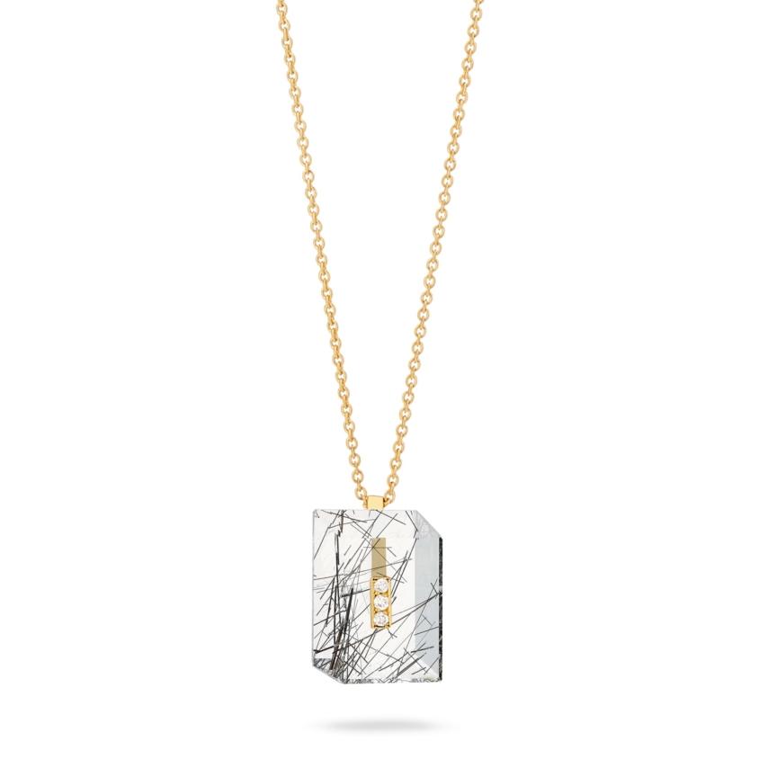 Gold Diamond & Black Rutilated Quartz Necklace – Deco Rectangle Pendant | Yael Sonia